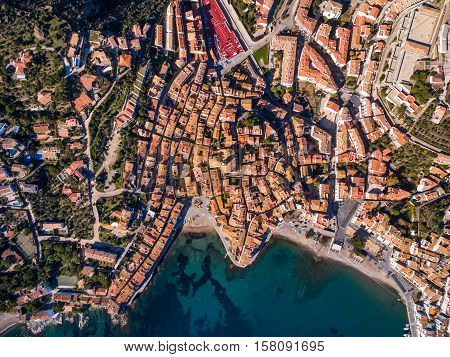 Bay town of Cadaqués with a bird's-eye view, Spain, Catalonia