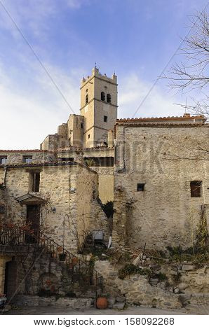Saint-Vicent-d'En-Haut d Eus Church Languedoc Roussillon Pyrenees Orientales France