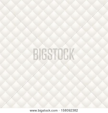 White leather upholstery raster seamless pattern, render. Digitally generated quilted leather upholstery. Can be used in web design and graphic design as a light monotone background, in 3D rendering.