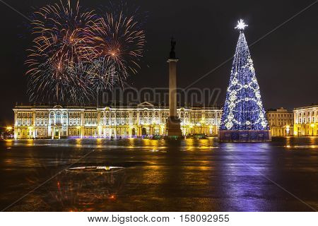 St. Petersburg, Russia, December 31, 2014, Christmas tree and new year firework in Saint Petersburg, Saint Petersburg is the Northern capital of Russia