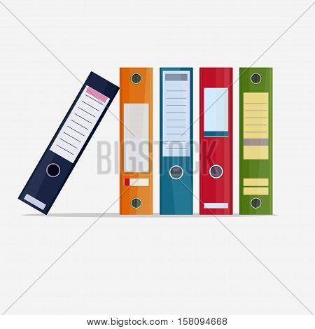 Binder folder row, Office Archive paper documents folders, vector