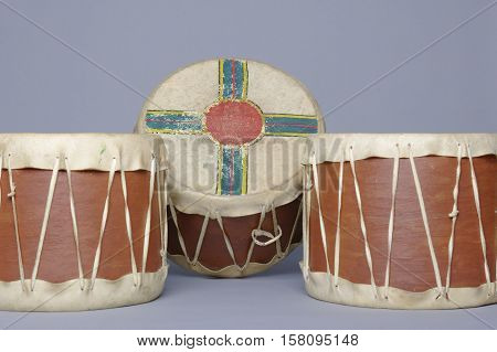 native American decorated tom-toms and ceremony drums