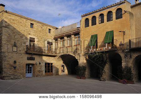 Square of medieval village of Peratallada Alt EmpordaCosta BravaGirona province CataloniaSpain