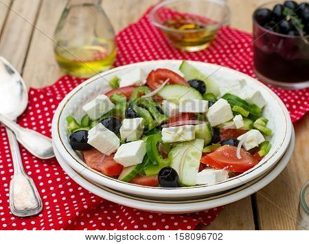 Greek salad bulgarian salad with tomatoes cucumber pepper olives and feta