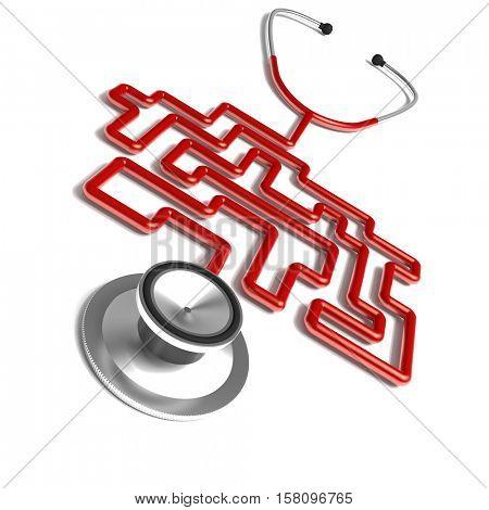 maze stethoscope metaphore  3d rendering