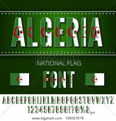 Algeria National Flag stylized Font. Alphabet and Numbers in Vector Set