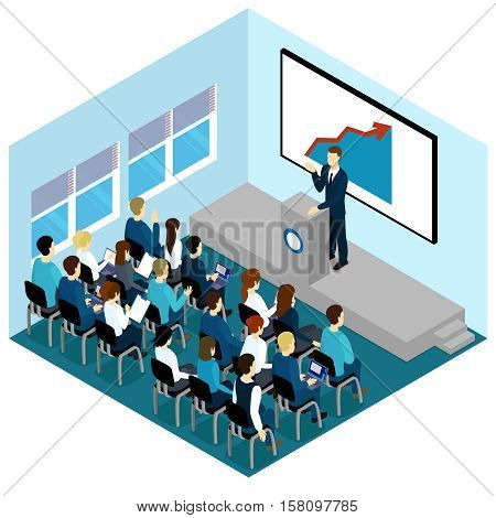 Isometric training lectures composition with colleagues at the working meeting or learning vector illustration