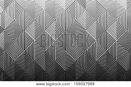 Vector  seamless black and white halftone gradient pattern. Abstract background, with lines getting thin and resulting a fading effect.
