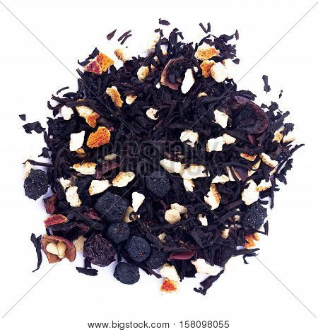 Pile of earl grey black tea isolated on white background