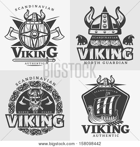 Four square viking design emblem set with Scandinavian Viking north guardian and other descriptions vector illustration