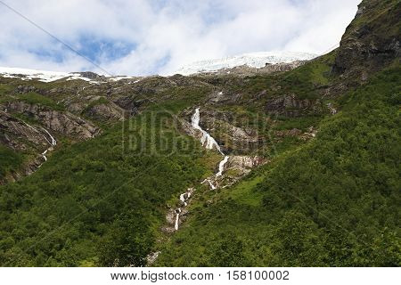 This is flow of water from the melting glacier rushing down the mountain slopes.