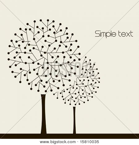 Illustration with trees. Vector