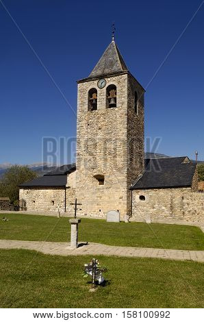 Church of Santa Eulalia Pi Lleida province Pyrenees mountains Spain