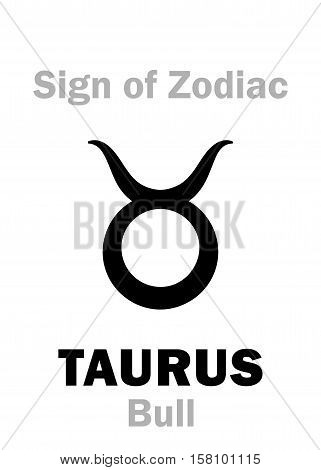 Astrology Alphabet: Sign of Zodiac TAURUS (The Bull). Hieroglyphics character sign (single symbol).