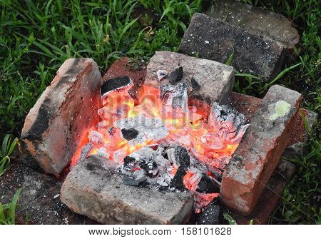 Bricks Around The Charcoal. The Fire For Roasting Kebabs.