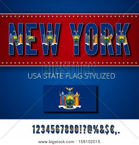 New York USA state flag font. Numbers and symbols