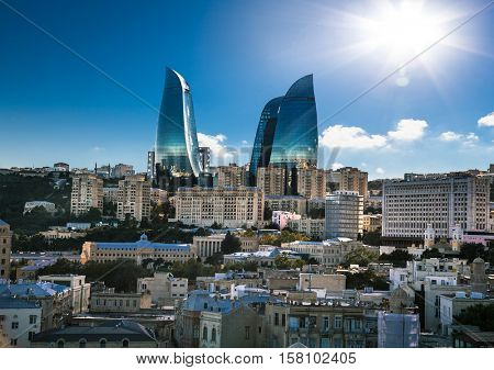 BAKU, AZERBAIJAN -OCT 3, 2016: Flame Towers is the tallest skyscraper in Baku on Oct 3, 2016, with a height of 190 m. Azerbaijan. The buildings consist of apartments, a hotel and office blocks