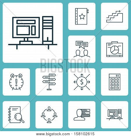 Set Of Project Management Icons On Computer, Board And Money Topics. Editable Vector Illustration. I