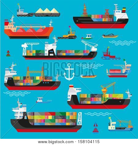 Ships, boats, cargo, logistics, transportation and shipping icons set. Vector flat illustration.