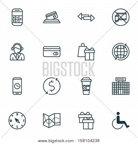 Set Of Traveling Icons On Plastic Card, Calculation And Crossroad Topics. Editable Vector Illustrati
