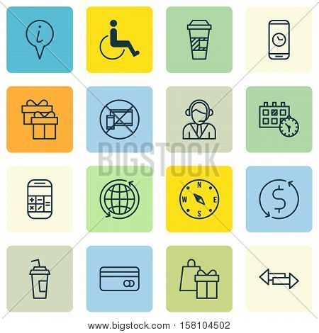 Set Of Airport Icons On Accessibility, Operator And Present Topics. Editable Vector Illustration. In