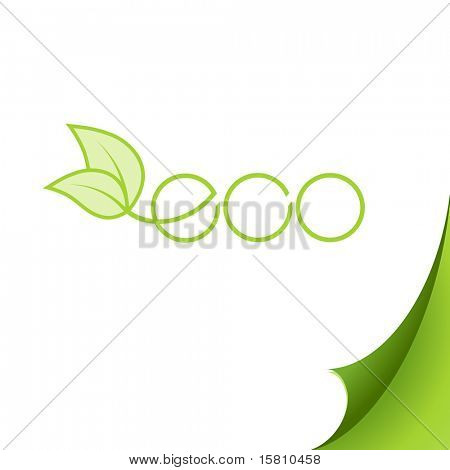 Eco logo on paper. Vector