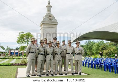 Labuan,Malaysia-Nov 11,2012:Soldiers in uniform for the remembrance Day at Commonwealth World War II in Labuan,Malaysia.Remembrance Day in Borneo will be observed at Labuan World War II Memorial park.