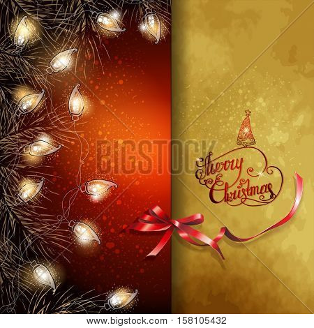 Christmas background with  fir-tree branches and luminous electric garland. Greeting card. Vector illustration.