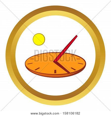 Sundial vector icon in golden circle, cartoon style isolated on white background
