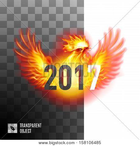 Fiery Cockerel On Transparent Background Symbol twenty-seventeen