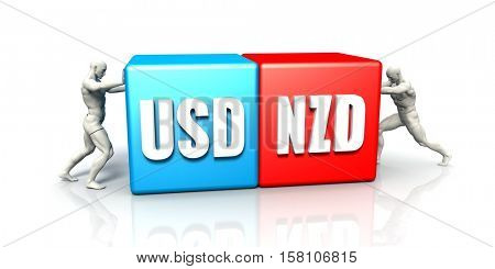 USD NZD Currency Pair Fighting in Blue Red and White Background 3d Illustration Render