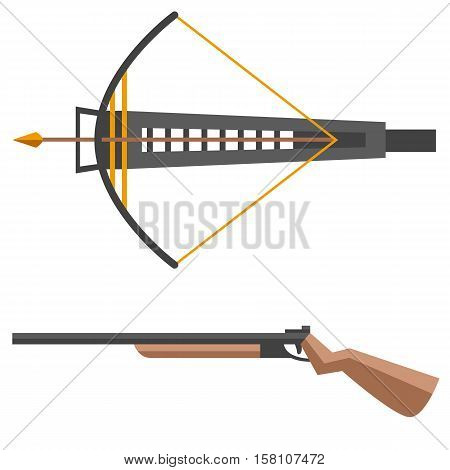 Crossbow vector illustration. Crossbow arbalest isolated on white background with gun