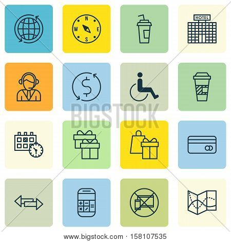 Set Of Traveling Icons On Money Trasnfer, Takeaway Coffee And Present Topics. Editable Vector Illust