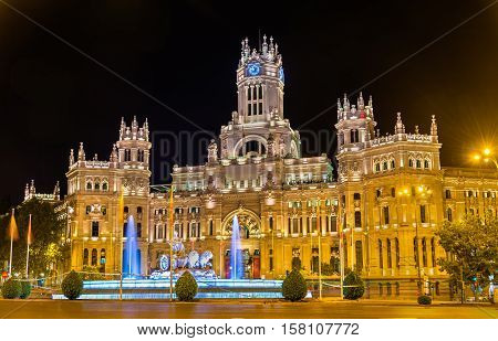 The Cybele Palace, formerly the Palace of Communication in Madrid, Spain. Currently the seat of the City Council.
