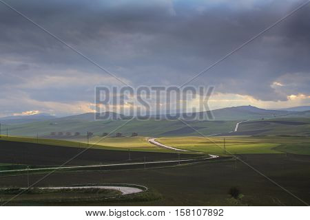 RURAL LANDSCAPE WINTER.Between Apulia and Basilicata hills landscape with farmhouses. -ITALY- .