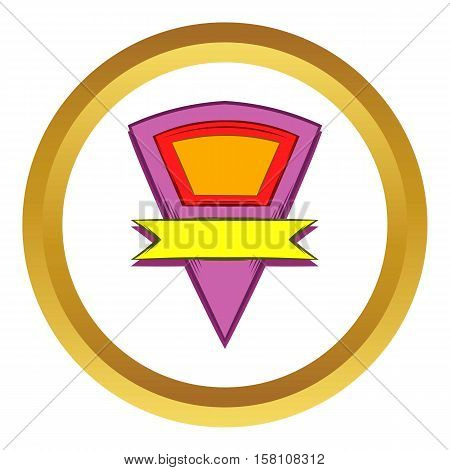 Color pennant with yellow ribbon vector icon in golden circle, cartoon style isolated on white background