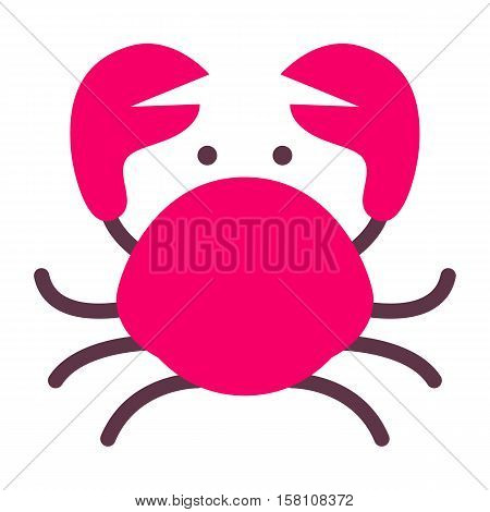 marine icon with cartoon flat animal isolated on white