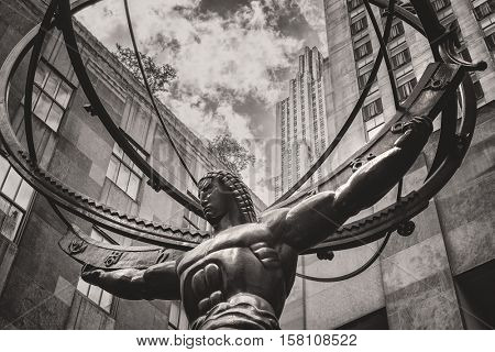 Vintage toned image of the Statue of Atlas in New York City's Fifth Avenue