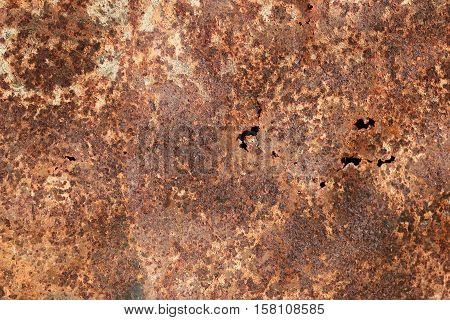 brown texture of rusty metal with holes and scuffed from time to time
