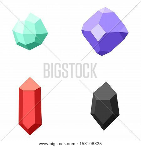 set of gemstones, colorful stones isolated on white
