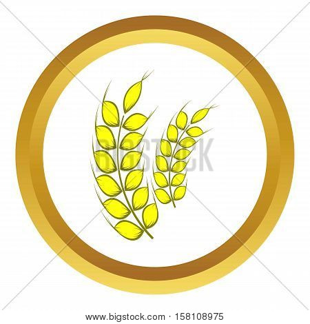 Two stalks of ripe barley vector icon in golden circle, cartoon style isolated on white background