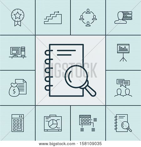 Set Of Project Management Icons On Personal Skills, Analysis And Discussion Topics. Editable Vector