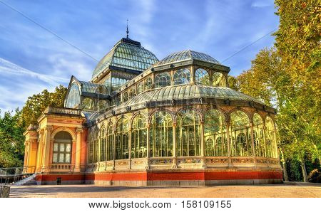 The Palacio de Cristal in Buen Retiro Park - Madrid, Spain