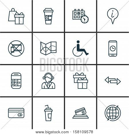 Set Of Traveling Icons On Crossroad, Accessibility And Drink Cup Topics. Editable Vector Illustratio