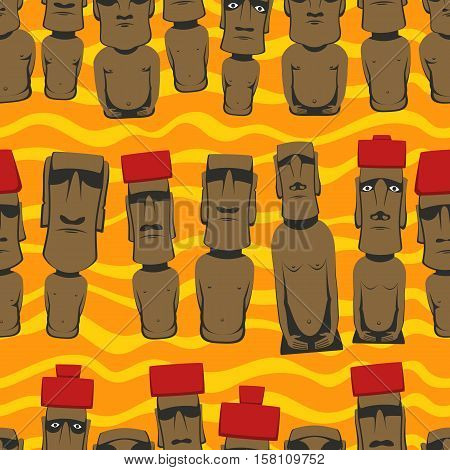 Flat style Cartoon Easter Island Rapa Nui seamless background with Moai,