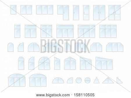 Big vector set of different types of light plastic windows and doors. Editable vector illustration with isolated elements in flat style. Outdoor objects collection