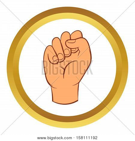 Hand with clenched fist vector icon in golden circle, cartoon style isolated on white background