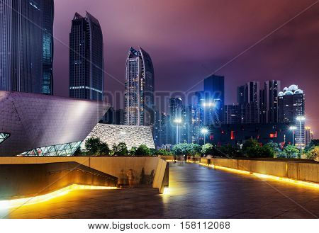 Amazing Night View Of Modern Buildings, Guangzhou, China