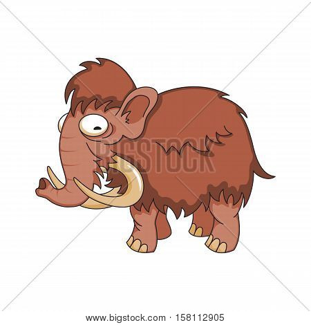 Vector image of a cute wooly mammoth on white background.