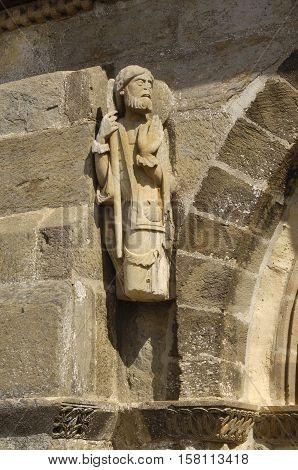 Santiago pilgrim sculpture Romanesque Church of Santa Marta de Tera XI century Via de la Plata Castilla y Leon Zamora Province Spain